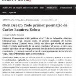 Reseña de Own Dream Code, de Carlos Ramírez Kobra, en la Revista Achtung!