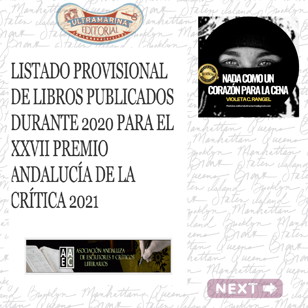 Violeta C. Rangel recibe el título de finalista de la Asociación Andaluza de Escritores y Críticos Literarios