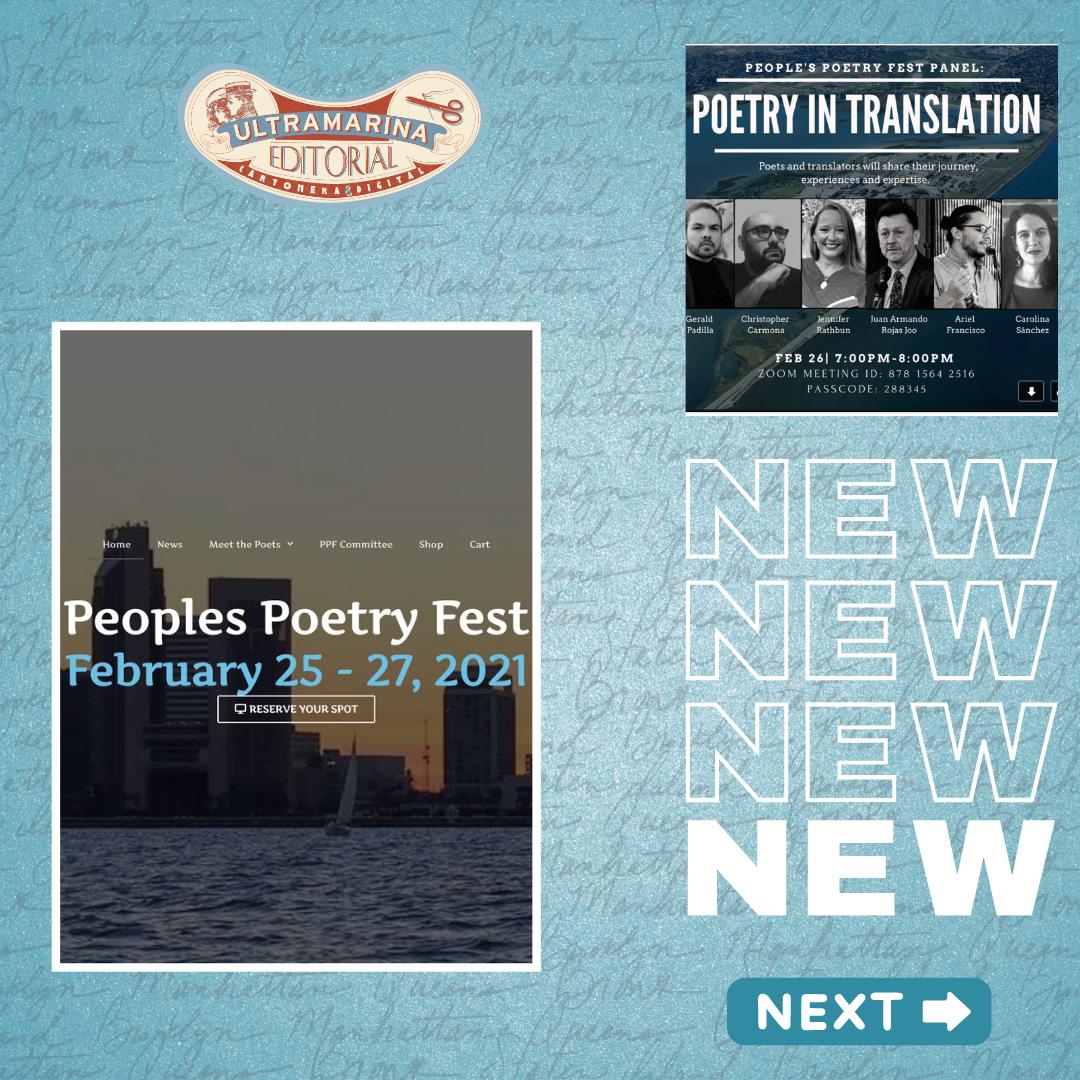 Poetry in translation- people's poetry fest panel. Participan dos poetas y dos traductoras de Ultramarina C&D.