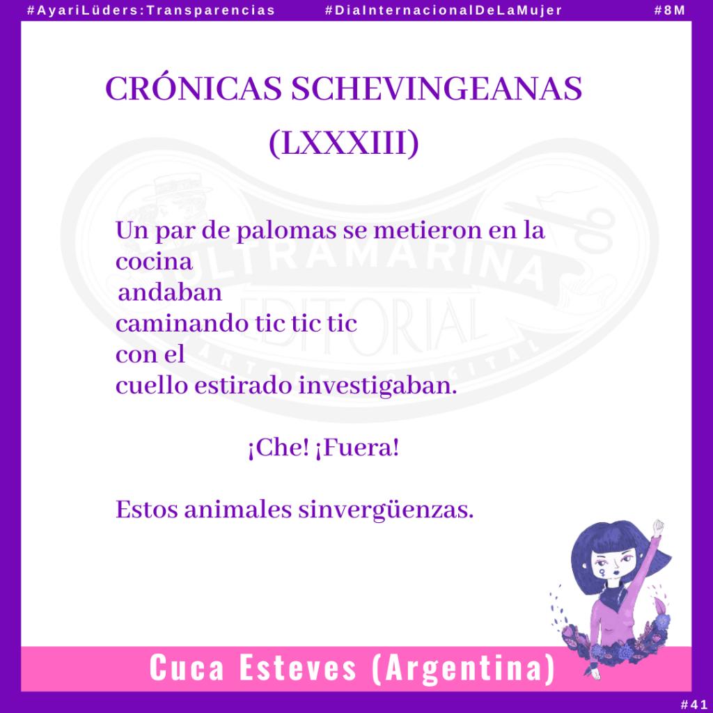 «Crónicas Schevingeanas (LXXXIII)» por Cuca Esteves #AyariLüders: Transparencias
